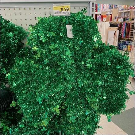 St. Patrick's Day Green-Tinsel Shamrock Wreath