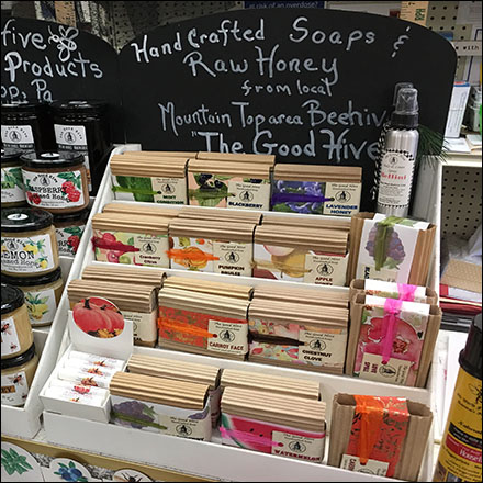 Handcrafted Raw-Honey Soaps Display