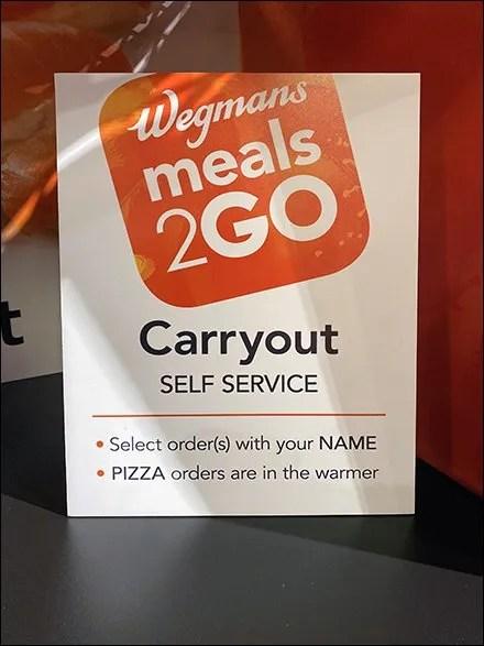 Meals2Go Carryout Self-Service On-Shelf Sign
