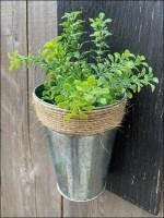 Twine-Tied Galvanized Plant Pots