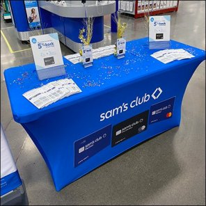 Table-Draped Credit Card Signup-Station