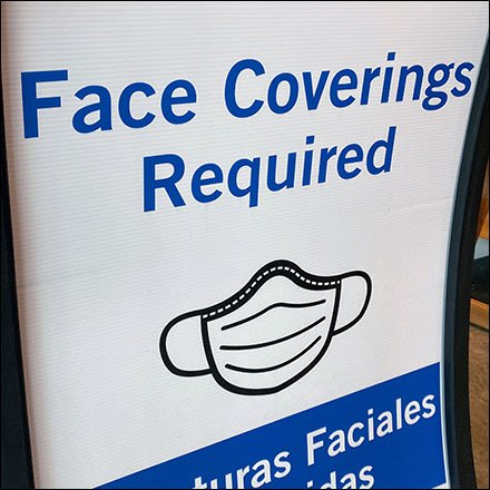 Sidewalk Face Coverings Required Sign