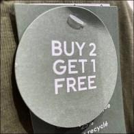 H&M Buy-2-Get-1 T-Shirt BOGO Hang-Tag