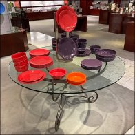 Circular Glass Table Dinnerware Display