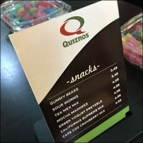 Quiznos Branded Table-Top Sign