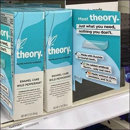 Theory Toothpaste Shelf-Edge Promo Flag
