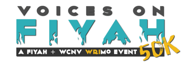 Logo for the Voices on Fiyah 50k Writing Month event
