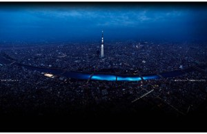 Blue Orbs Floating Down a River in Tokyo
