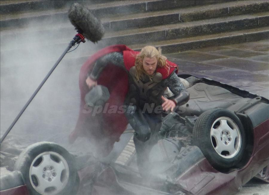 """Chris Hemsworth and Christopher Ecclestone battle it out on the set of """"Thor 2"""", London, UK"""