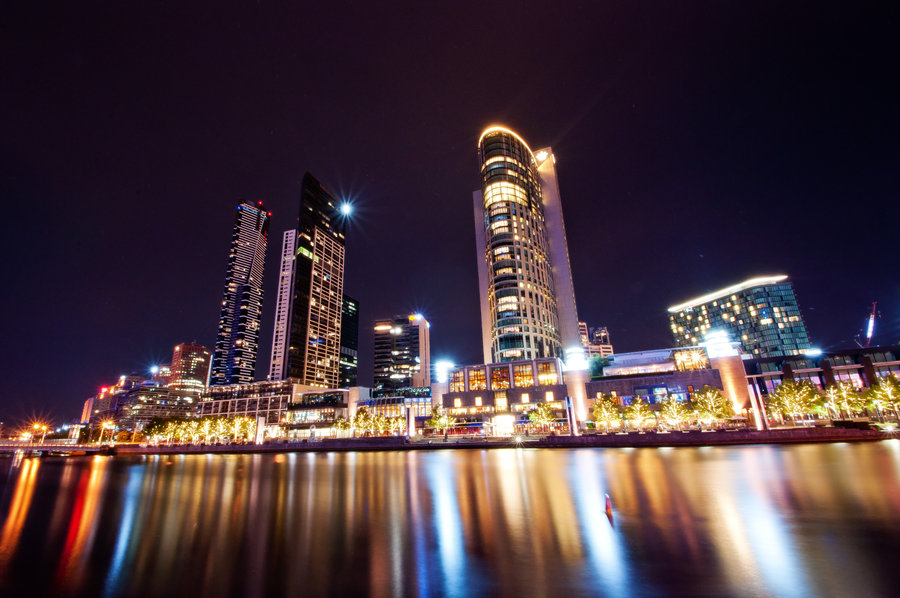 Taken in Melbourne City Victoria Australia. Taken on banks of Yarra River of the Crown Casino at night time, long exposure.