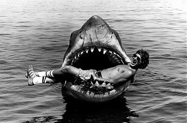 Behind the scene photo from Jaws