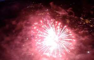 drones fly through breathtaking fireworks displays