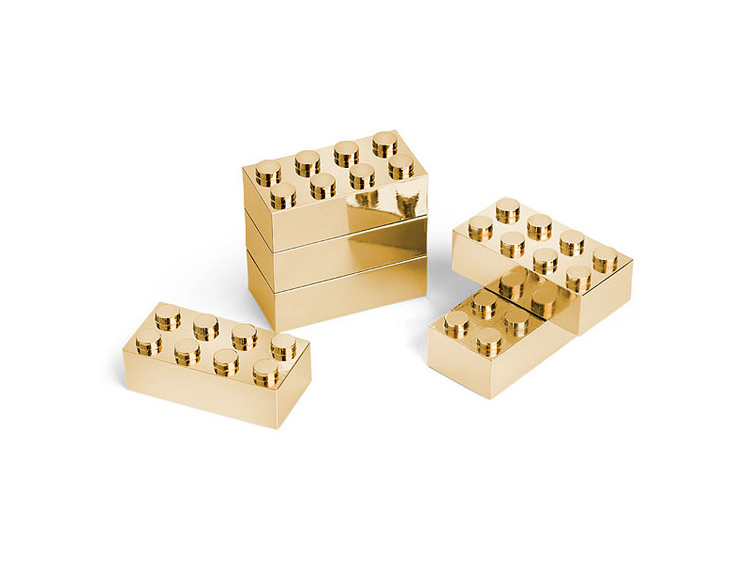 Gold Plated Metal Building Brick Set