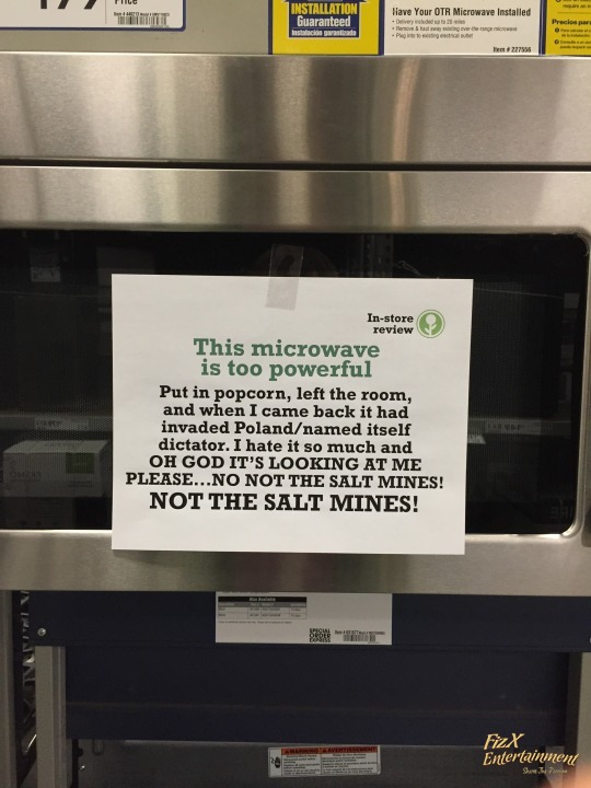 In-Store Appliance Reviews