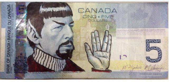Canadians Pay Tribute To Nimoy by Drawing Spock on $5 Bills