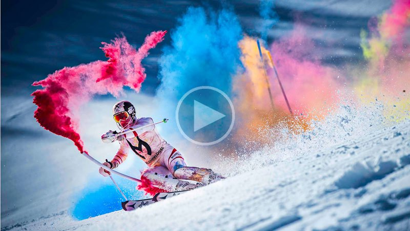 Skier Explodes with Color