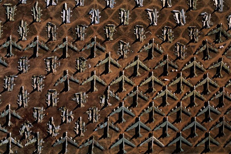 Decommissioned Boeing B-52 bombers, aerial view, Tucson, Arizona, USA