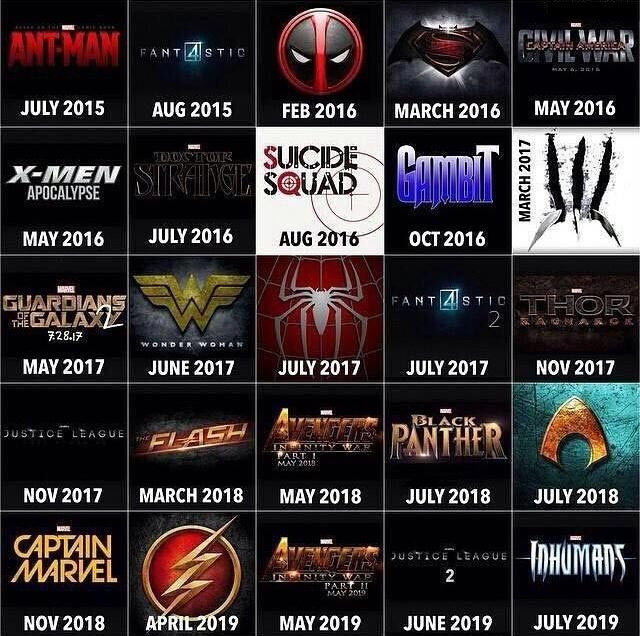 Superhero Film Line-Up For The Next 4 Years