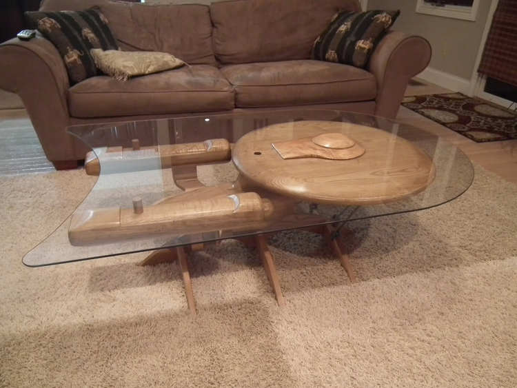 X-Wing and U.S.S. Enterprise Wooden Coffee Tables