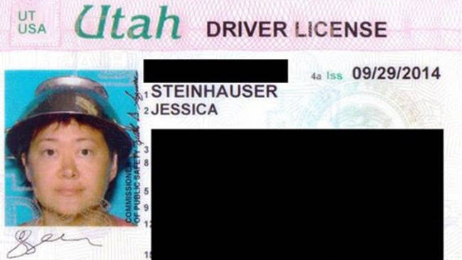 Wearing a strainer as a hat in a license photo