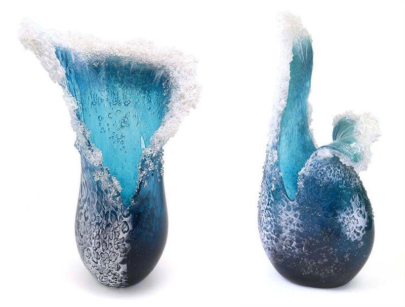 Stunning Crashing Wave Glass Sculptures by Blaker-DeSomma