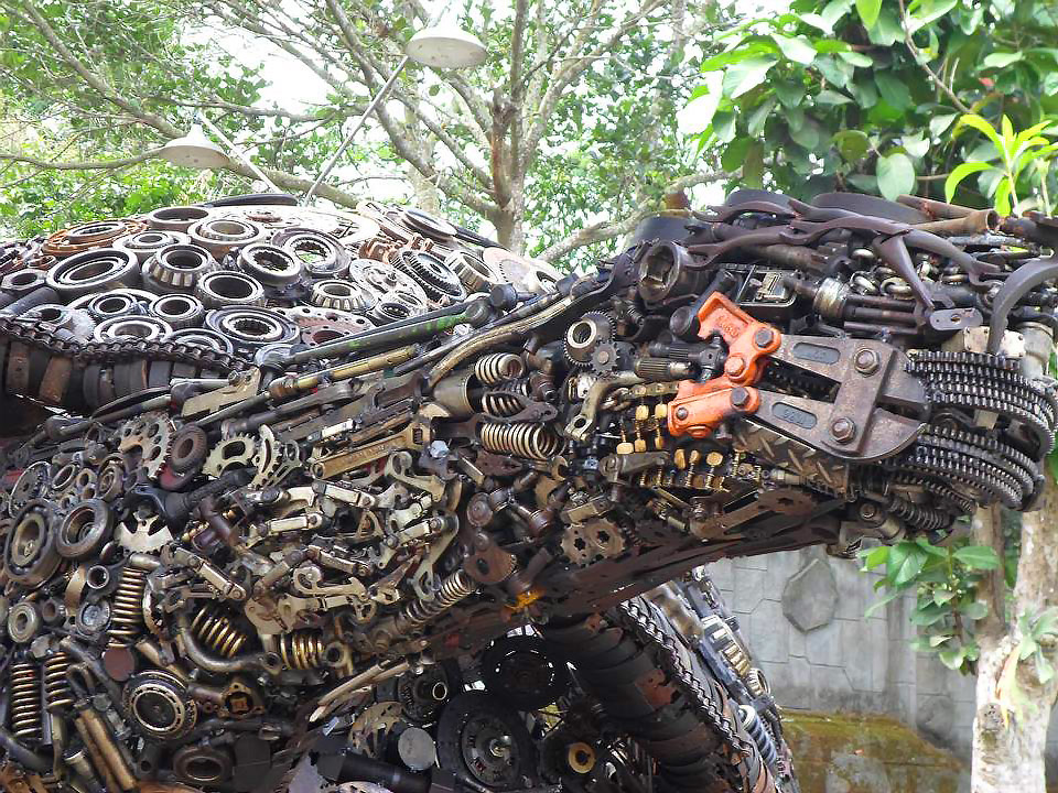 A Gigantic Turtle Made by Discarded Industrial Junk Welded Together