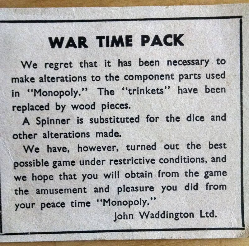 Monopoly Made a Wartime Version DuringWWIIDue to ProductionConstraints
