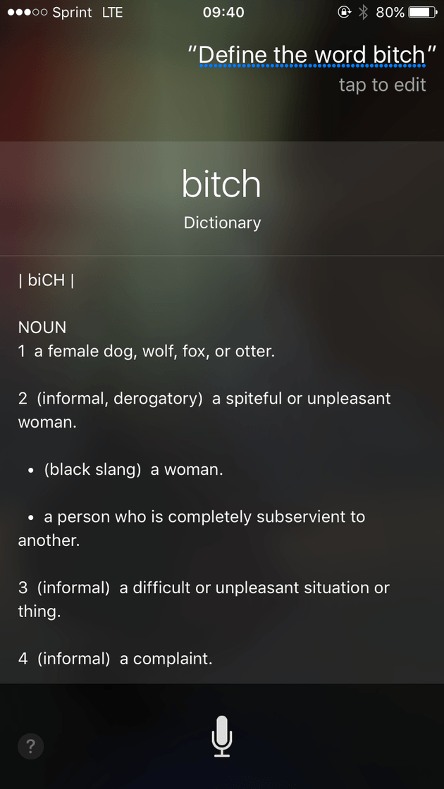 Siri's Definition Of 'Bitch' Is Offensive