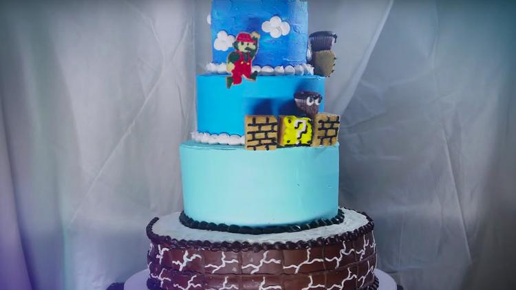 Custom SUPER MARIO BROS. Cake