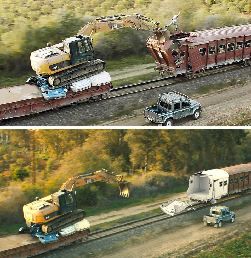 Skyfall (2012) - Viewers watched in amazement in the opening sequences as James Bond (Daniel Craig) took on a rampaging digger mounted aboard a moving train - the image below shows the CGI (computer-generated imagery) being added to footage to achieve the dramatic effect