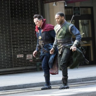 On location with 'Doctor Strange' filming in New York City Featuring: Benedict Cumberbatch, Chiwetel Ejiofor Where: New York, New York, United States When: 04 Apr 2016 Credit: WENN.com
