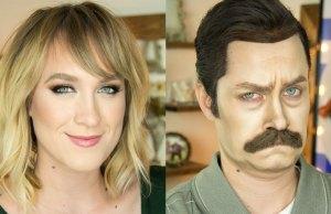 Makeup Artist Transforms Herself Into Ron Swanson