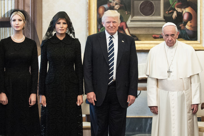 Pope Francis Looks Sad In The Divine Meme With The Trumps