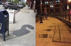Street Artist is Painting Fake Shadows