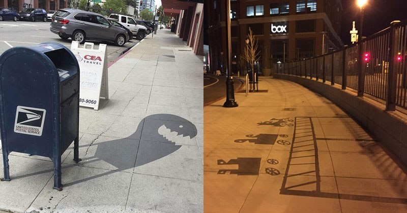 Street Artist is Painting Fake Shadows