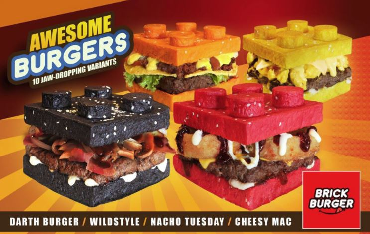 Burgers With Colorful LEGO Brick Shaped Buns