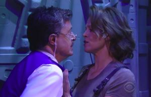 Sigourney Weaver And Stephen Colbert
