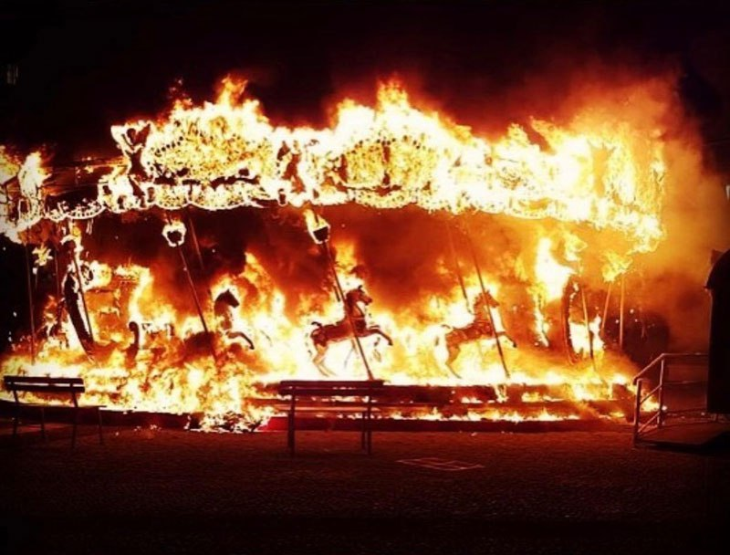 Carousel in Italy Catches Fire