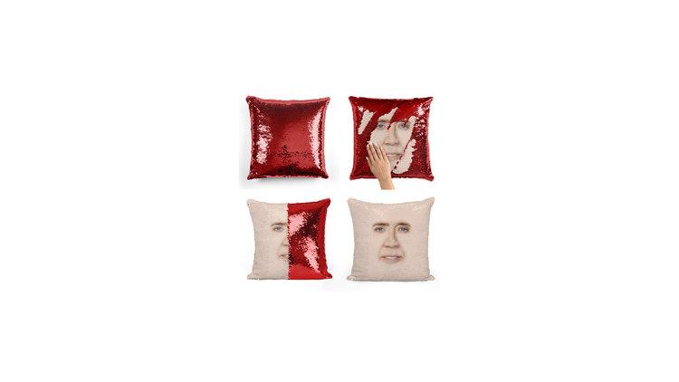 Nicolas Cage Sequin Pillow
