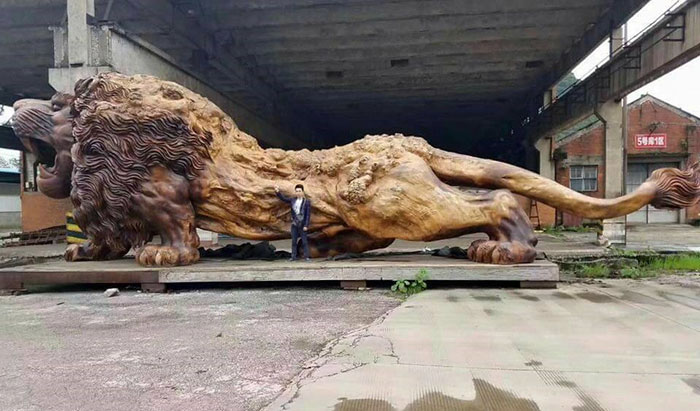 Carved Lion From Single Tree Becomes The World's Largest Redwood Sculpture