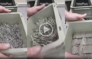 Watch This Guy Organizing a Box of Nails