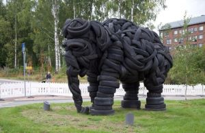 Elephant Sculpture Made out of Recycled Tires
