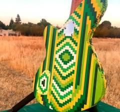Funky Bass Guitar Made From 2000 LEGO Bricks