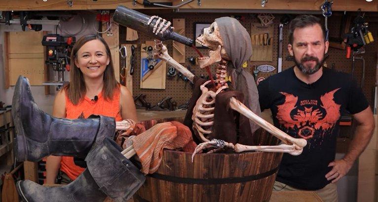 Drinking Skeleton Pirate Halloween Prop
