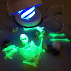 glowing objects under a UV light