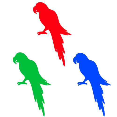 All parrots together (blue red and green)