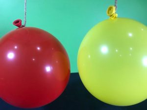 Blow em apart science experiment - balloons hanging down and ready to go