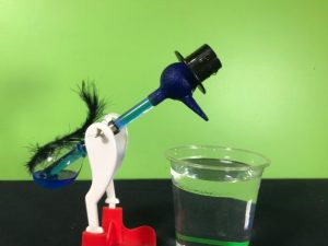 drinking bird starting to bend over