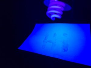 Secret glow in the dark science experiment - secret message on paper revealed under a UV black light