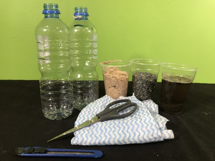 Create a water filter science experiment - materials needed